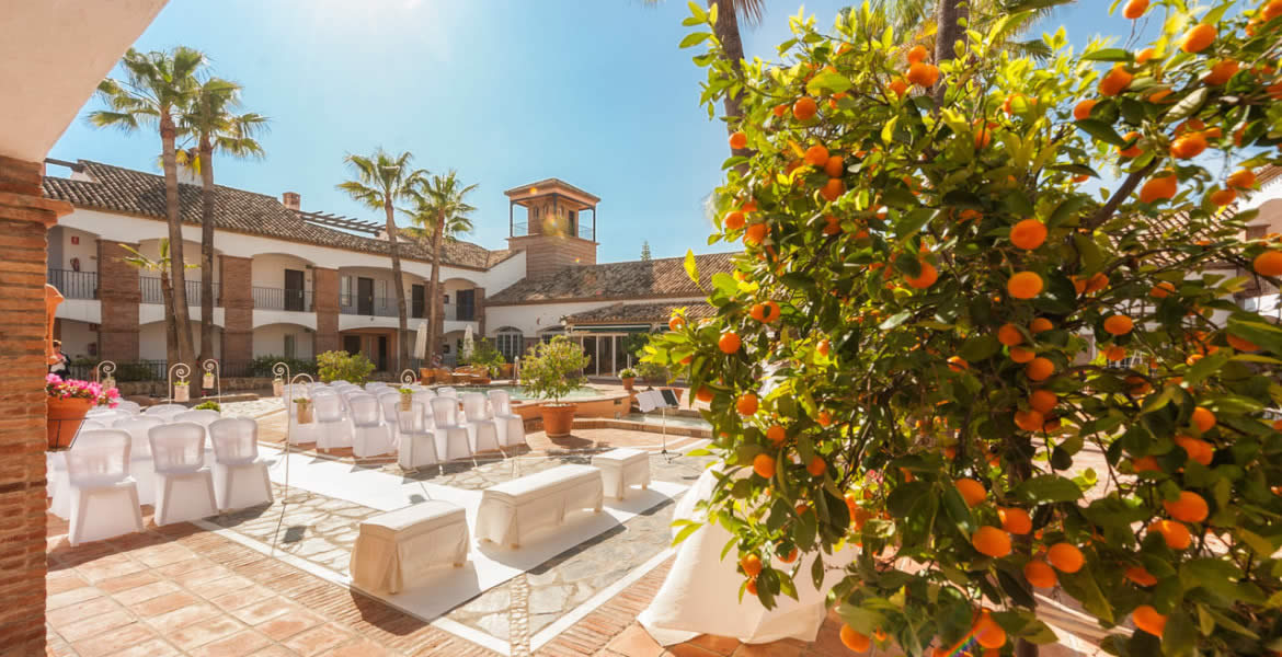 Inspiring Spanish hacienda and courtyard with beautiful gardens and private patios